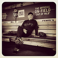 OAKLAND, CA - AUGUST 24: iPhone Instagram of manager Bruce Bochy of the San Francisco Giants sitting in the dugout before the game against the Oakland Athletics at the Oakland Coliseum on August 24, 2019 in Oakland, California. (Photo by Brad Mangin)