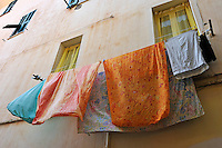 Laundry hanging on clothesline, Ventimiglia, Italy