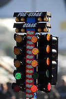 Sept. 19, 2010; Concord, NC, USA; Detailed view of a red light start on the NHRA starting lights also referred to as the christmas tree during the O'Reilly Auto Parts NHRA Nationals at zMax Dragway. Mandatory Credit: Mark J. Rebilas-