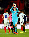 Joe Hart of England applauds the fans after a clean sheet during the FIFA World Cup Qualifying Group F match at Wembley Stadium, London. Picture date: November 11th, 2016. Pic David Klein/Sportimage