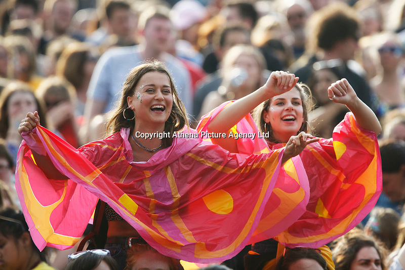 Pictured: Clean Bandit fans in the corwd. Saturday 26 May 2018<br /> Re: BBC Radio 1 Biggest Weekend at Singleton Park in Swansea, Wales, UK.