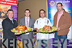 FOOD & WINE FAIR: Head Chef Gorka Arrieta of Cassidy's restaurant showing is appetising delights at Garvey's Food and Wine Fair in association with the Tralee Lions Club with all the proceeds from the night going to the Kerry Hospice Foundation and the Children Ward KGH at the Brandon Hotel on Thursday l-r: Tim Moynihan (Assist Manager Garvey's), Kevin O Connor (Store Manager Garvey's), Gorka Arrieta (Head Chef Cassidy's restaurant) and Bernard Cassidy (Proprietor Cassidy's restaurant)..   Copyright Kerry's Eye 2008