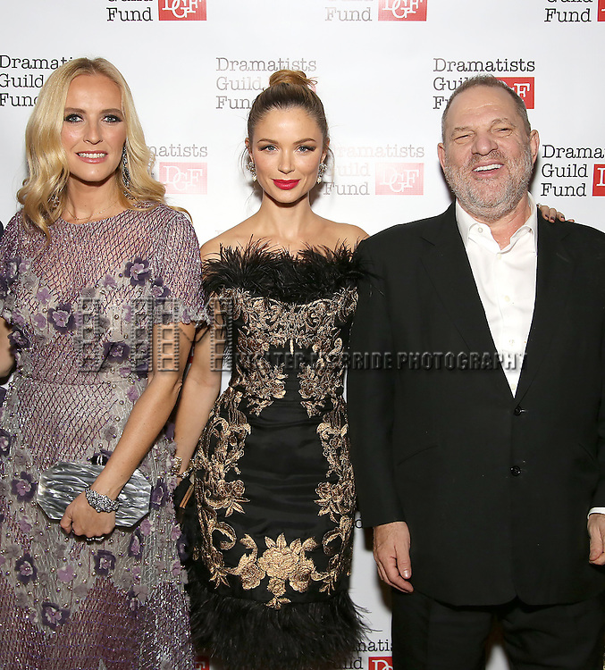 Keren Craig, Georgina Chapman and Harvey Weinstein attends the Dramatists Guild Fund Gala 'Great Writers Thank Their Lucky Stars : The Presidential Edition' at Gotham Hall on November 7, 2016 in New York City.