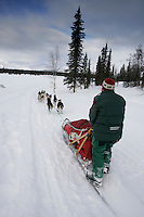 Trine Lyrek on the trail nearing the Finger Lake checkpoint.  Monday, March 7.  2005 Iditarod Sled Dog Race