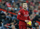 30th January 2019, Anfield, Liverpool, England; EPL Premier League football, Liverpool versus Leicester City; Jordan Henderson of Liverpool prepares to take a throw in