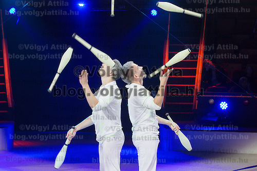 Jugglers Duo White Fantasy of Ukraine perform in the new show titled Balance in Circus Budapest in Budapest, Hungary on October 04, 2015. ATTILA VOLGYI