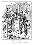 "Strange Tub-Fellows. Dr. Goebbels. ""The British Empire is one long story of oppression, bloodshed and tyranny!"" Marxist Orator. ""Comrade, you take the very words out of my mouth!"" (A Communist and Nazi political rally)"