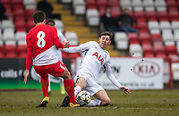 Jack Roles of Spurs U19 fouls Florian Antognelli of AS Monaco FC Youth during the UEFA Youth League round of 16 match between Tottenham Hotspur U19 and Monaco at Lamex Stadium, Stevenage, England on 21 February 2018. Photo by Andy Rowland.