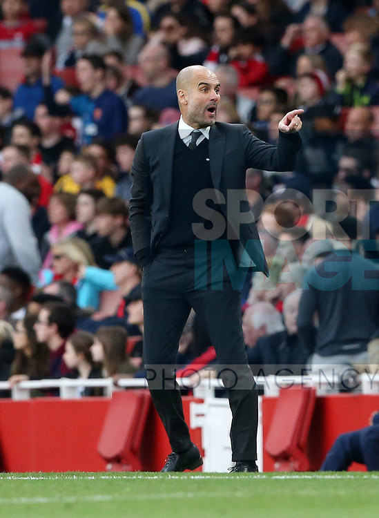 Manchester City's Pep Guardiola appeals for a late handball during the Premier League match at the Emirates Stadium, London. Picture date: April 2nd, 2017. Pic credit should read: David Klein/Sportimage