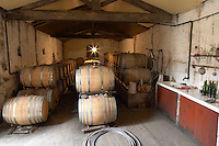 Chateau de Montpezat. Pezenas region. Languedoc. Barrel cellar. France. Europe. The winery laboratory.