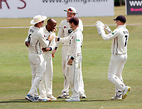 Daniel Bell-Drummond is mobbed after bowling Ned Eckersley during the County Championship Division 2 game between Kent and Leicestershire (Day 2) at the St Lawrence ground, Canterbury, on Mon July 23, 2018