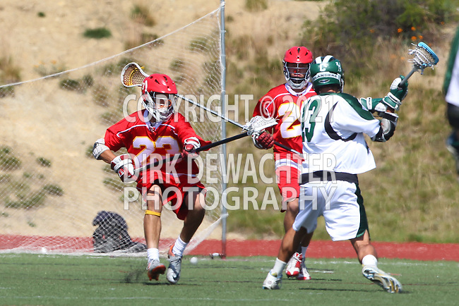 San Diego, CA 05/21/11 - Sergio Flores (Coronado #13), Dominic Thomas (Cathedral Catholic #23) and Max Schmitt (Cathedral Catholic #25) in action during the 2011 CIF San Diego Section Division 2 Varsity Lacrosse Championship between Cathedral Catholic and Coronado.