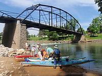 NWA Democrat-Gazette/FLIP PUTTHOFF <br /> Paddlers get ready for a kayak trip on the War Eagle River.