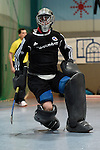 Mannheim, Germany, January 10: During the 1. Bundesliga Herren Hallensaison 2014/15 Sued  hockey match between Mannheimer HC (blue) and Muenchner SC (white) on January 10, 2015 at Irma-Roechling-Halle in Mannheim, Germany. Final score 8-8 (3-5). (Photo by Dirk Markgraf / www.265-images.com) *** Local caption *** Lukas Stumpf #4 of Mannheimer HC