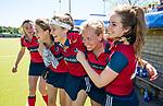 NIJMEGEN -  Iris Aalbers (Huizen), Mandy Visser (Huizen), Loulou van de Kasteele (Huizen) , Kaya Lucker (Huizen) , Lara Kok (Huizen)  de tweede play-off wedstrijd dames, Nijmegen-Huizen (1-4), voor promotie naar de hoofdklasse.. Huizen promoveert naar de hoofdklasse.  COPYRIGHT KOEN SUYK