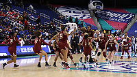 GREENSBORO, NC - MARCH 06: Boston College players celebrate during a game between Boston College and Duke at Greensboro Coliseum on March 06, 2020 in Greensboro, North Carolina.