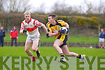 Asdee's Darragh Keane breaks away from Danny O'Flynn of Charleville last Sunday in the Munster Novice final played in Knockaderry