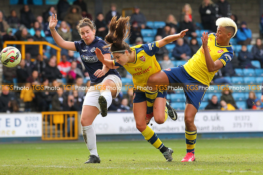 Carla Humphrey of Arsenal Ladies (C) goes close to a goal - Millwall Lionesses vs Arsenal Ladies - FA Womens Challenge Cup 5th Round Football at the New Den, Bermondsey, London - 22/03/15 - MANDATORY CREDIT: TGSPHOTO - Self billing applies where appropriate - contact@tgsphoto.co.uk - NO UNPAID USE