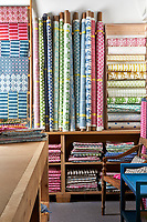 Molly Mahon fabrics displayed in her studio.