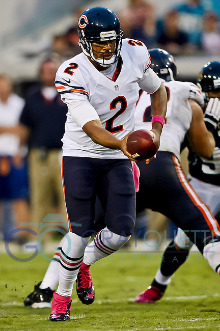 October 07, 2012:  Chicago Bears quarterback Jason Campbell (2) hands off to a running back in a NFL game between the Chicago Bears and the Jacksonville Jaguars  played at EverBank Field in Jacksonville, Florida. Chicago defeated Jacksonville 41-3.........