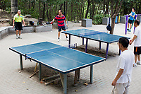 People play pingpong in Changle Park in Xian, Shaanxi Province, China.