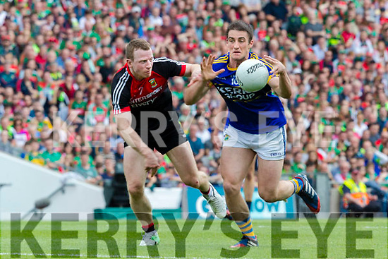 Stephen O'Brien Kerry in action against Colm Boyle Mayo in the All Ireland Semi Final Replay in Croke Park on Saturday.