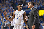 Guard Tyler Ulis and head coach John Calipari of the Kentucky Wildcats talk during a free throw during the game against  the North Carolina Tar Heels at Rupp Arena on Saturday, December 13, 2014 in Lexington, Ky. Kentucky defeated North Carolina 84-70. Photo by Michael Reaves | Staff