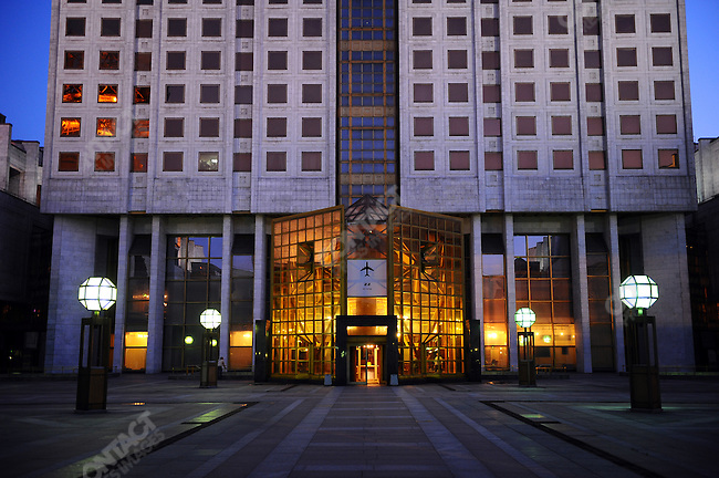 The entrance to the Russian Academy of Sciences which has a restaurant on the 22nd floor. Moscow, Russia, July 11, 2009