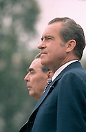 President Richard Nixon with Leonid Brezhnev - A break in at the Democratic National Committee headquarters at the Watergate complex on June 17, 1972 results in one of the biggest political scandals the US government has ever seen.  Effects of the scandal ultimately led to the resignation of  President Richard Nixon, on August 9, 1974, the first and only resignation of any U.S. President.