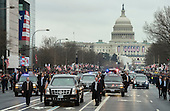 United States The limousine carrying President Donald Trump and First Lady Melania Trump drives in the inaugural parade after Trump was sworn-in as the 45th President in Washington, D.C. on January 20, 2017.    <br /> Credit: Kevin Dietsch / Pool via CNP