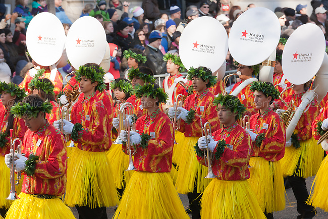 NEW YORK - NOVEMBER 24:  Members of the Na Koa Ali'i Hawaii All-State Marching band perform during the annual Macy's Thanksgiving Day Parade on Thursday, November 24, 2011.