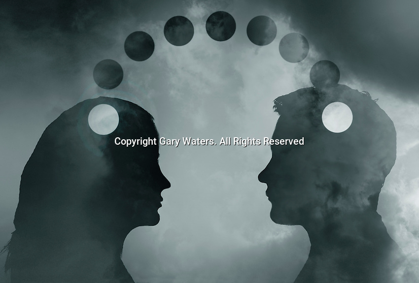 Silhouette of young couple connected via dots ExclusiveImage