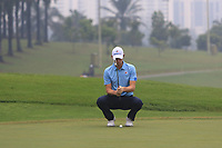 Thomas Pieters (Europe) on the 4th green during the Saturday Foursomes of the Eurasia Cup at Glenmarie Golf and Country Club on the 13th January 2018.<br /> Picture:  Thos Caffrey / www.golffile.ie