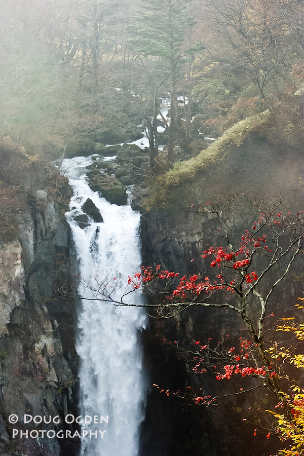 Kegon falls throught the fog and fall colors, Nikko, Japan