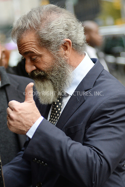 www.acepixs.com<br /> November , 2016 New York City<br /> <br /> Mel Gibson arriving to tape an appearance on 'The Late Show with Stephen Colbert' on November, 2016 in New York City.<br /> <br /> Credit: Kristin Callahan/ACE Pictures<br /> <br /> Tel: (646) 769 0430<br /> e-mail: info@acepixs.com