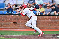 Johnson City Cardinals second baseman J.D. Murders (8) runs to first base during a game against the Bristol Pirates at TVA Credit Union Ballpark on June 23, 2017 in Johnson City, Tennessee. The Pirates defeated the Cardinals 4-3. (Tony Farlow/Four Seam Images)