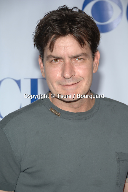 Charlie Sheen arriving at the  CBS television Critic Assocoation Summer Party at the Rose Bowl in Los Angeles.<br /> eye contact<br /> headshot