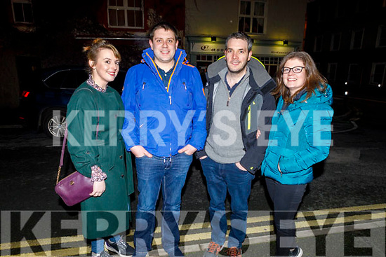 Aoife O'Connor, Conor Fleming, Brian McElligott and Emma Fleming from Ballymac enjoying the evening in Cassidys Tralee on Saturday.