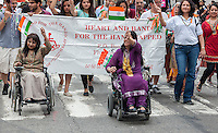 Members of the group Heart and Hand for the Handicapped march in the Indian Independence Day Parade on Madison Ave. on Sunday, August 18, 2013.  Now in it's 33rd year, the parade celebrates the 66th anniversary of India's partition from British rule on August 15, 1947. (© Richard B. Levine)