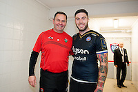 Toulon backs coach Steve Meehan poses for a photo with Matt Banahan of Bath Rugby after the match. European Rugby Champions Cup match, between RC Toulon and Bath Rugby on January 10, 2016 at the Stade Mayol in Toulon, France. Photo by: Patrick Khachfe / Onside Images