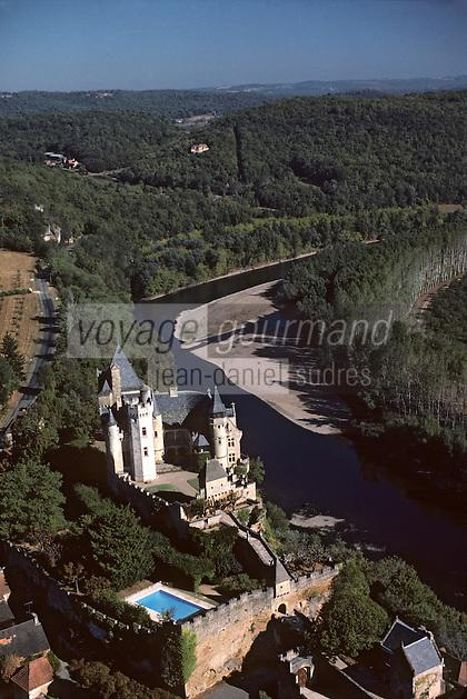 Europe/France/Aquitaine/24/Dordogne/Vallée de la Dordogne/Périgord/Périgord noir/Vitrac: Le Château de Montfort Vue aérienne