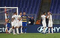 Roma s Henrikh Mkhitaryan, second from right, is congratulated by his teammate Lorenzo Pellegrini after scoring a goal during the Italian Serie A football match between Roma and Parma at Rome's Olympic stadium, July 8, 2020.<br /> UPDATE IMAGES PRESS/Isabella Bonotto