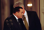 President Hosni Mubarak of Egypt, left, listens as United States President Bill Clinton, right, explains a reporter's question during a joint press confrence in the East Room of the White House in Washington, D.C. on Monday, March 10, 1997..Credit: Ron Sachs / CNP