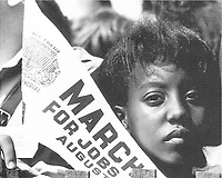 Demonstrator at the March on Washington for Jobs and Freedom, August 28, 1963.<br /> <br /> Credit: National Archives and Records Administration.