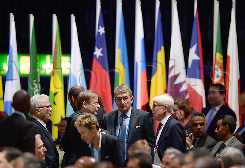 26.02.2016. Zurich, Switzerland.  Wolfgang Niersbach (C), former president of the German Football Association DFB, Reinhard Rauball (C,R) and Rainer Koch (C,R), both acting DFB-presidents attend the Extraordinary FIFA Congress 2016 at the Hallenstadion in Zurich, Switzerland, 26 February 2016. The Extraordinary FIFA Congress is being held in order to vote on the proposals for amendments to the FIFA Statutes and choose the new FIFA President.