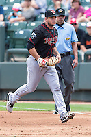 Nashville Sounds first baseman Anthony Aliotti (20) grounds Round Rock center fielder Jared Hoying (30), not in the picture, during a baseball game, Sunday May 03, 2015 in Round Rock, Tex. Express sweep four game series by defeating Sounds 5-4. (Mo Khursheed/TFV Media via AP images)