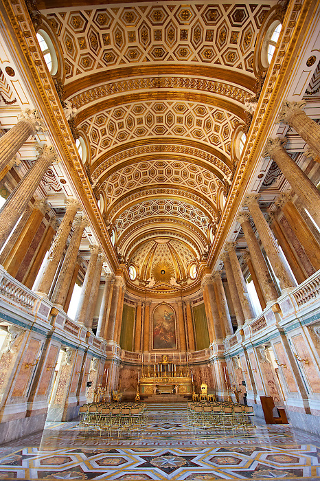 The Baroque Chapel of the Bourbon Kings of Naples Royal Palace of Caserta, Italy.