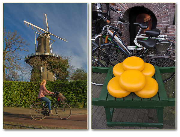 Windmill, cyclist and cheese, Leiden, Netherlands.