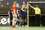 Berlin, Germany, January 31: During the 1. Bundesliga Herren Hallensaison 2014/15 semi-final hockey match between Rot-Weiss Koeln (dark blue) and Club an der Alster (red) on January 31, 2015 at the Final Four tournament at Max-Schmeling-Halle in Berlin, Germany. Final score 4-3 (2-2). (Photo by Dirk Markgraf / www.265-images.com) *** Local caption ***