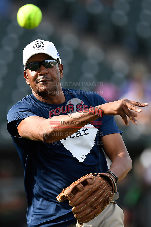 Former South Carolina basketball star Alex English warms up before the Celebrities vs. Soldiers Softball Game as part of the All-Star Game festivities on Monday, June 19, 2017, at Spirit Communications Park in Columbia, South Carolina. (Tom Priddy/Four Seam Images)